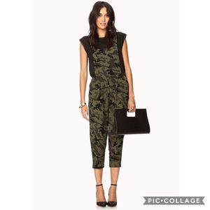 Forever 21 Bold Camo Print Harem Overall Jumpsuit